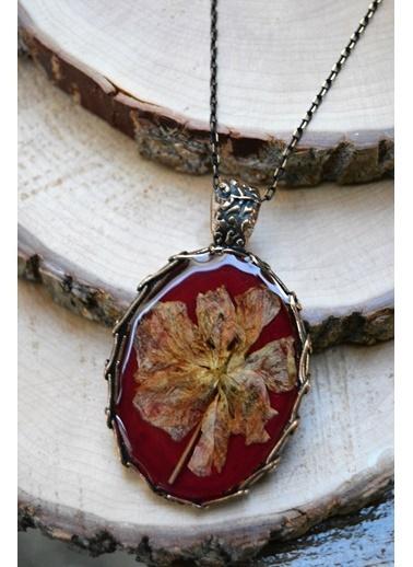 Stoneage Gerçek Çiçek Tasarım Bayan Kolye Kırmızı